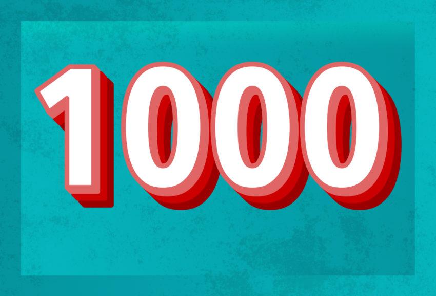 1000 yrkesaktive medlemmer